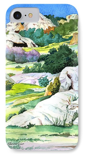 IPhone Case featuring the painting Laguna Canyon Rocks by John Norman Stewart