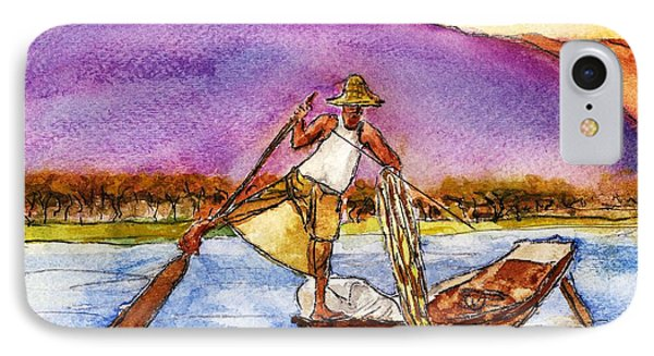 Lake Burma Fisherman IPhone Case by Randy Sprout