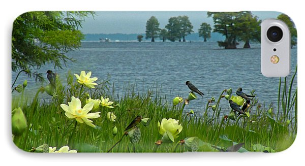 IPhone Case featuring the photograph Lake Lotus And Swallows by Deborah Smith