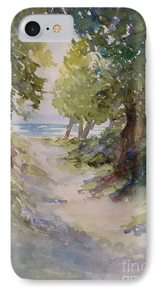 IPhone Case featuring the painting Lake Michigan Beach Path by Sandra Strohschein