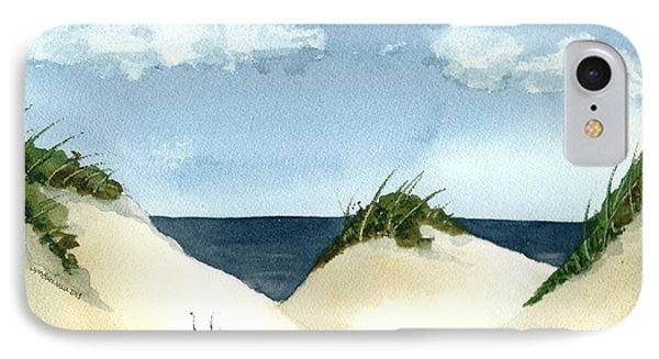 IPhone Case featuring the painting Lake Michigan Dunes by Lynn Babineau