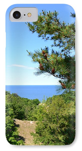 Lake Michigan From The Top Of The Dune Phone Case by Michelle Calkins