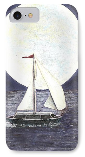 IPhone Case featuring the painting Lake Michigan Full Moon by Dan Wagner