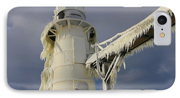 Lake Michigan Lighthouse Frozen In Winter IPhone Case