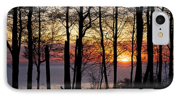 Lake Michigan Sunset With Silhouetted Trees IPhone Case by Mary Lee Dereske