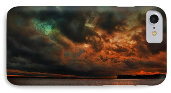 Lake Murray Fire Sky IPhone Case by Steven Richardson