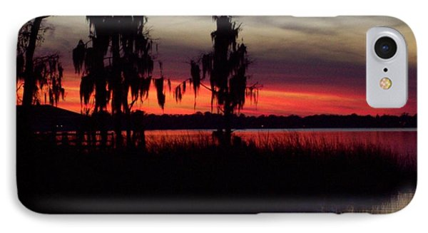 Lake On Fire IPhone Case by Lew Davis