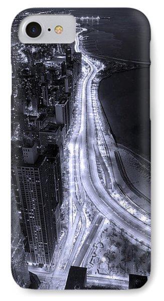 Shore iPhone 7 Case - Lake Shore Drive Aerial  B And  W by Steve Gadomski