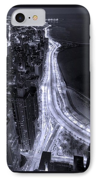 Lake Shore Drive Aerial  B And  W IPhone 7 Case by Steve Gadomski