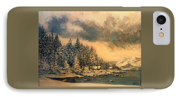 IPhone Case featuring the painting Lake Tahoe Winter Colors 2 by Donna Tucker