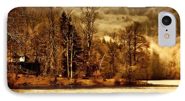 Lakeside Log Cabin IPhone Case by Roman Solar