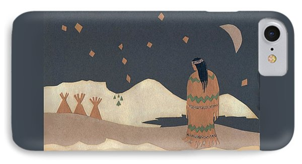 Lakota Woman With Winter Constellations Phone Case by Dawn Senior-Trask