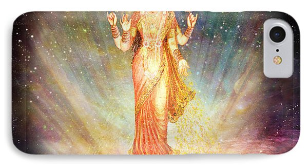 Lakshmi Goddess Of Abundance Rising From A Galaxy Phone Case by Ananda Vdovic