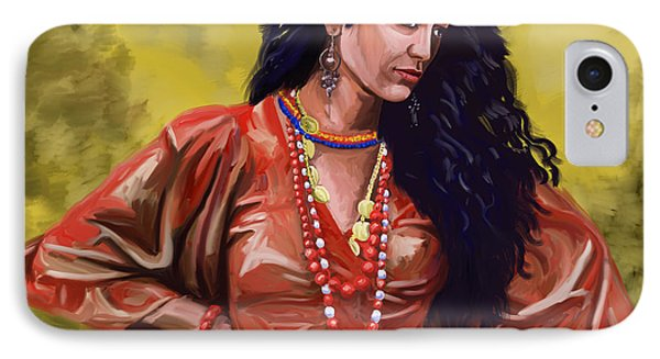 IPhone Case featuring the painting Lala Gypsy Girl by Tim Gilliland