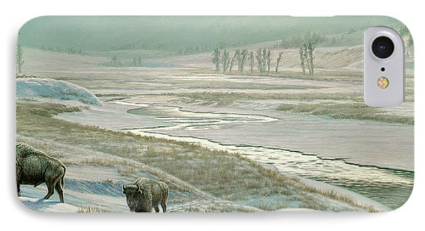 Lamar Valley - Bison IPhone Case by Paul Krapf