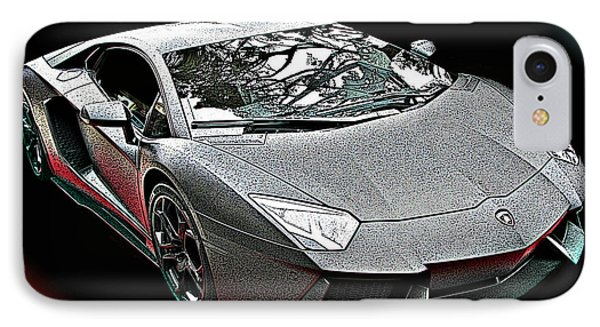 Lamborghini Aventador In Matte Black Finish IPhone Case by Samuel Sheats