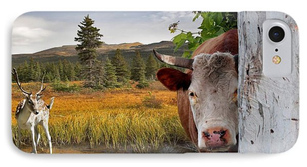 Landscape - Animals - Peek A Boo Cow Phone Case by Liane Wright