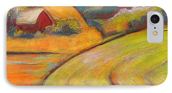 Landscape Art Orange Sky Farm IPhone Case by Blenda Studio
