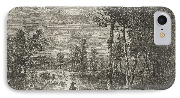 Landscape At Night With Farmers And Livestock IPhone Case