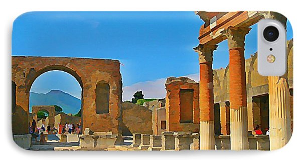 Landscape At Pompeii Italy Ruins Phone Case by John Malone