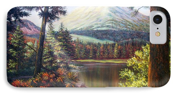 Landscape-lake And Trees IPhone Case by Loxi Sibley
