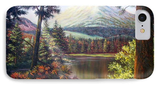 IPhone Case featuring the painting Landscape-lake And Trees by Loxi Sibley