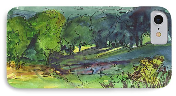 Landscape Lakeway Texas Watercolor Painting By Kmcelwaine IPhone Case by Kathleen McElwaine
