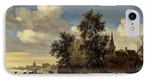 IPhone Case featuring the digital art Landscape by Salomon van Ruysdael