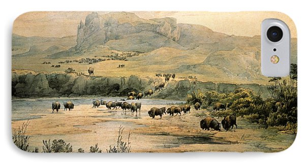 Landscape With Buffalo Ont The Upper Missouri Phone Case by Karl Bodmer