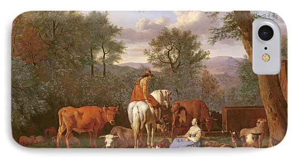 Landscape With Cattle And Figures IPhone Case by Adriaen van de Velde