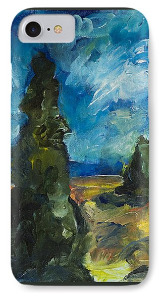 IPhone Case featuring the painting Emerald Spires by Yulia Kazansky