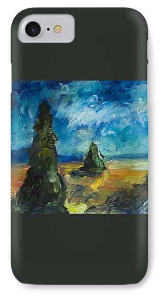 IPhone 7 Case featuring the painting Emerald Spires by Yulia Kazansky