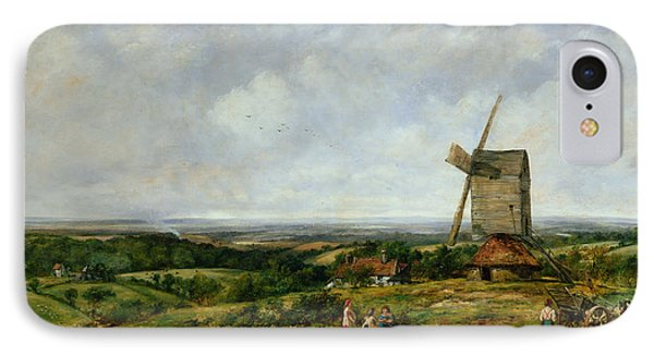 Landscape With Figures By A Windmill IPhone Case by Frederick Waters Watts