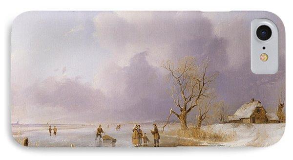 Landscape With Frozen Canal IPhone Case by Remigius van Haanen
