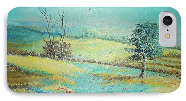 IPhone Case featuring the painting Landscape With Lavanda  by Sorin Apostolescu