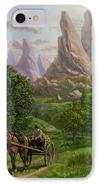 Landscape With Man Driving Horse And Cart IPhone Case by Martin Davey