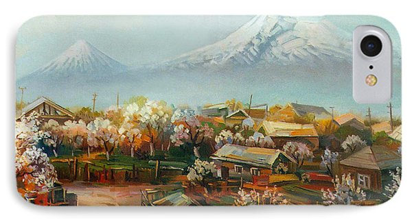 Landscape With Mountain Ararat From The Village Aintap IPhone Case by Meruzhan Khachatryan