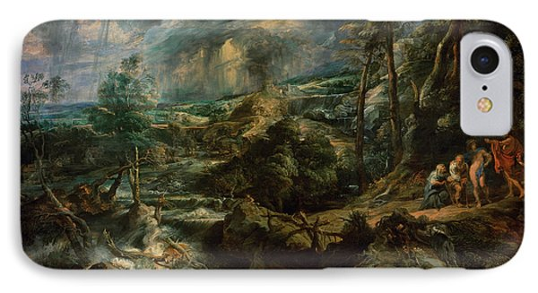 Landscape With Philemon And Baucis C.1625 Oil On Panel IPhone Case by Peter Paul Rubens