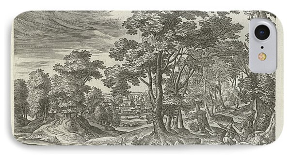 Landscape With Robbery Of The Traveler, Julius Goltzius IPhone Case