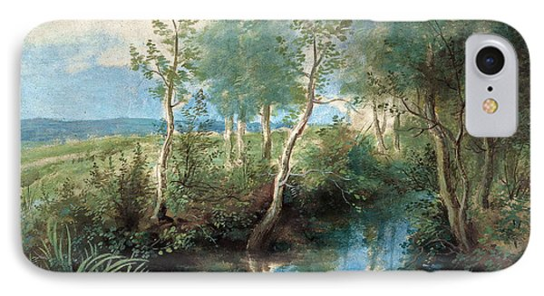 Landscape With Stream Overhung With Trees IPhone Case by Peter Paul Rubens