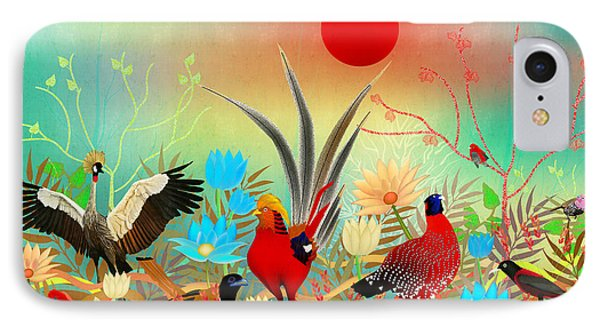 Landscapes With Birds And Red Sun - Limited Edition Of 15 IPhone Case by Gabriela Delgado