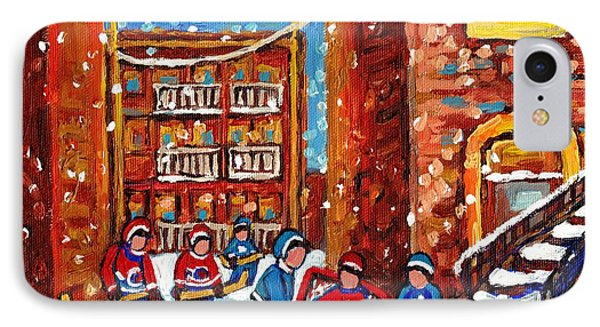 Laneway Hockey Game Montreal Paintings Winter Fun In The City Carole Spandau IPhone Case by Carole Spandau