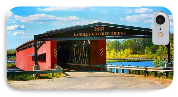 Langley Covered Bridge - Michigan IPhone Case by Pat Cook