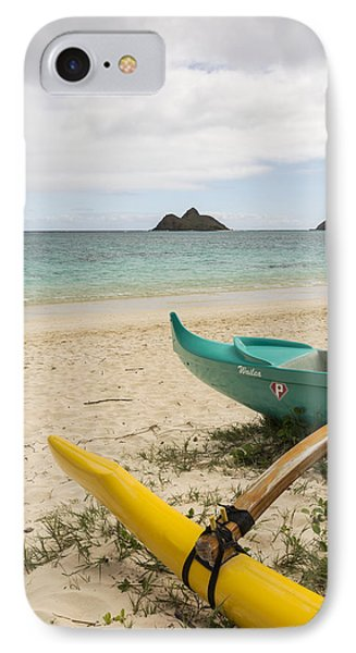 Lanikai Beach Outrigger 2 - Oahu Hawaii Phone Case by Brian Harig