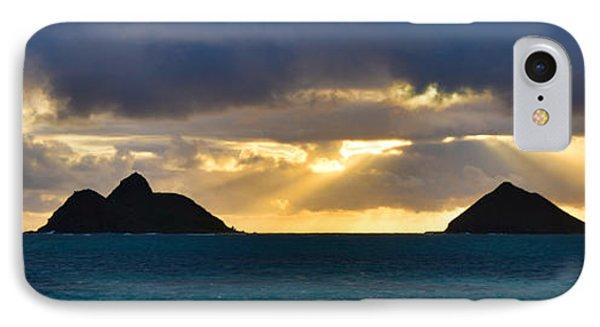Lanikai Beach Sunrise Panorama 2 - Kailua Oahu Hawaii Phone Case by Brian Harig