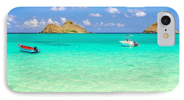 IPhone Case featuring the photograph Lanikai Beach Two Boats And Two Mokes by Aloha Art