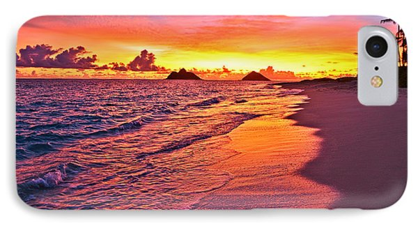 IPhone Case featuring the photograph Lanikai Beach Winter Sunrise Rays Of Light by Aloha Art