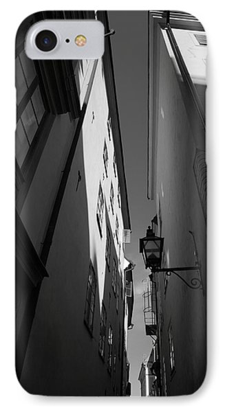 Lantern In A Narrow Alley - Monochrome IPhone Case