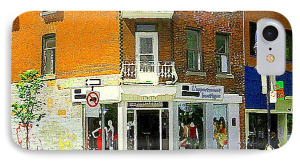 L'appartement Boutique Fashions Trendy Chic Clothing Store Ave Du Mont Royal City Scene  Phone Case by Carole Spandau