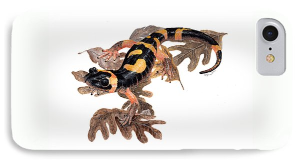 Large Blotched Salamander On Oak Leaves IPhone Case by Cindy Hitchcock